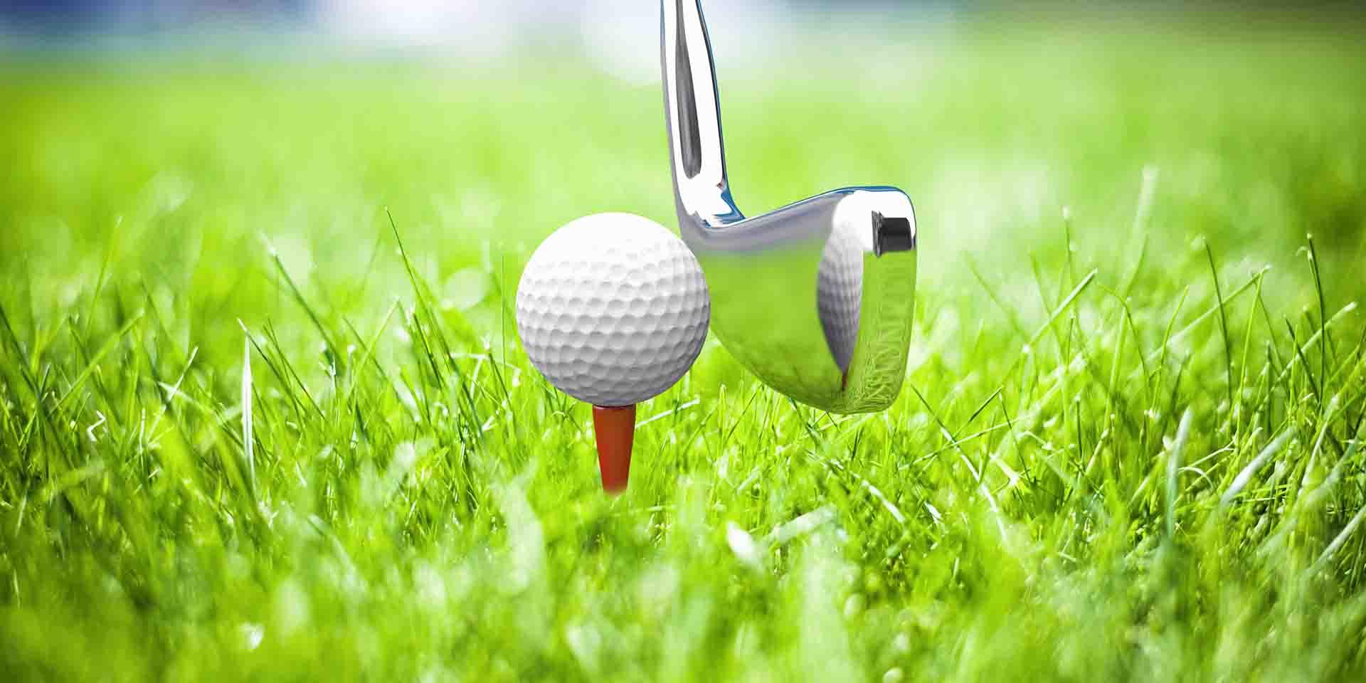 Golf ball and putter.
