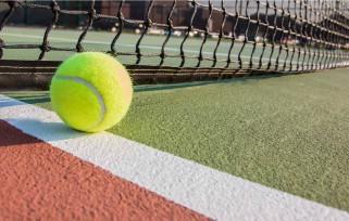 tennis ball on tennis court