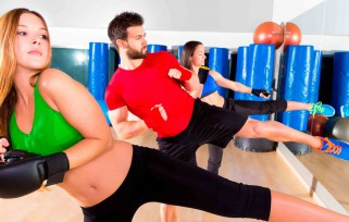 Group practicing cardio boxing classes