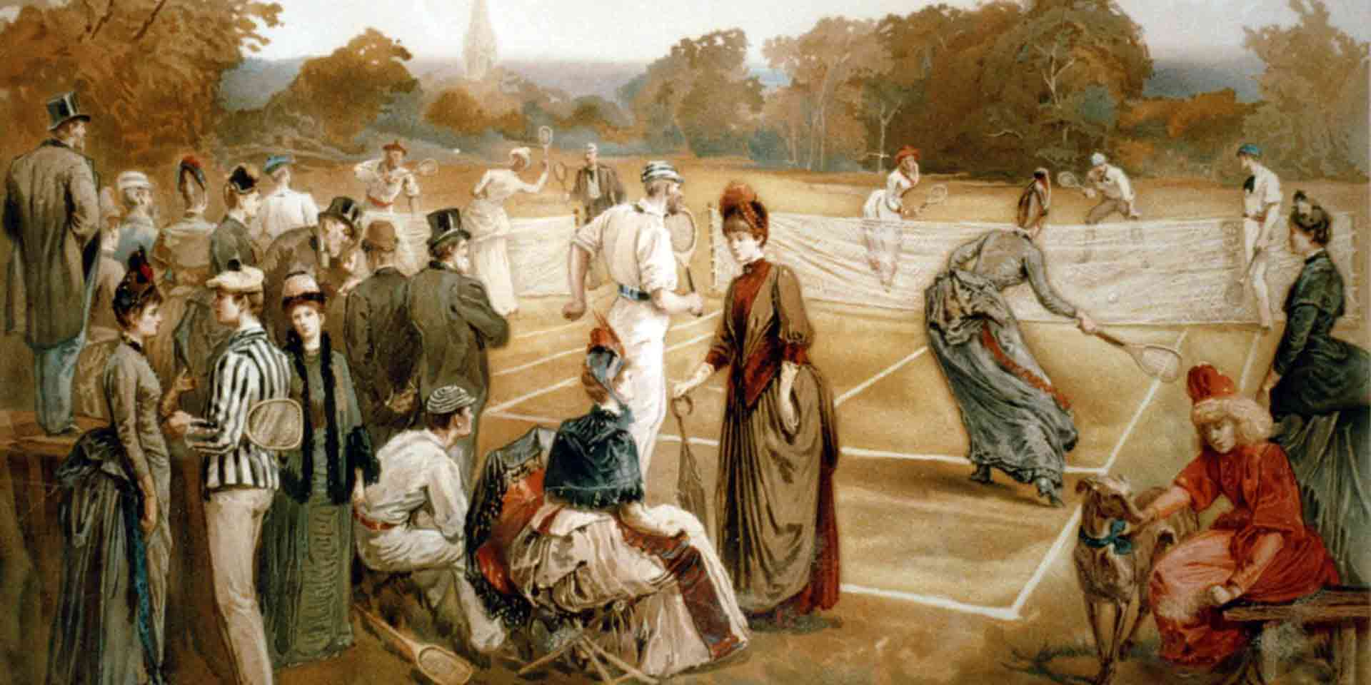People watching a tennis game
