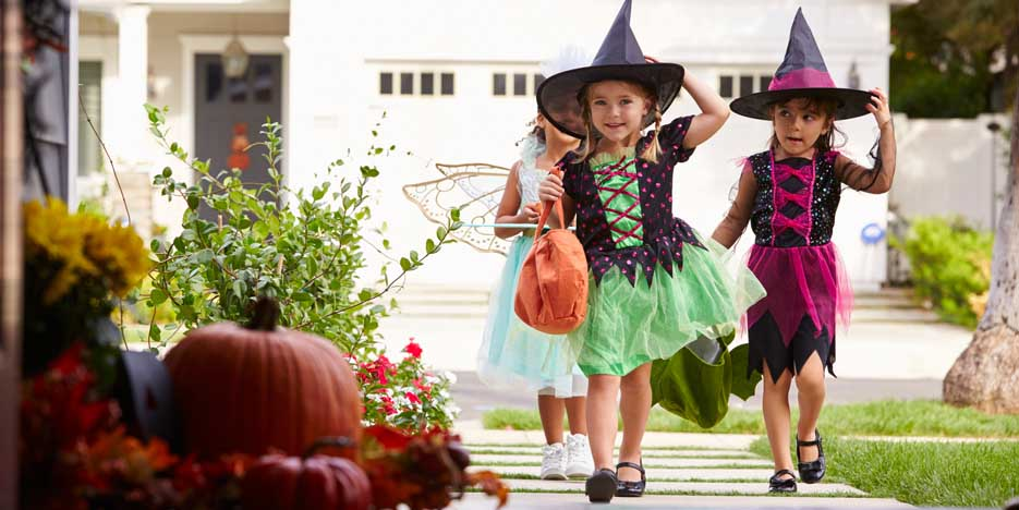 Halloween trick or treaters.