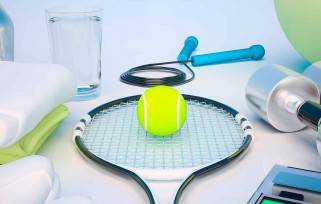 Tennis ball and tennis racket.